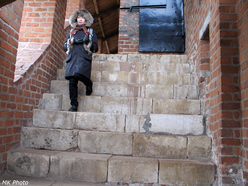 Мама спускается по крутой лестнице между Часовой и Ивановской башнями