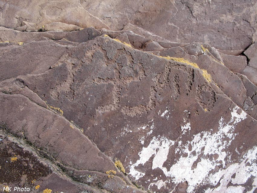 Петроглифы на курганном камне