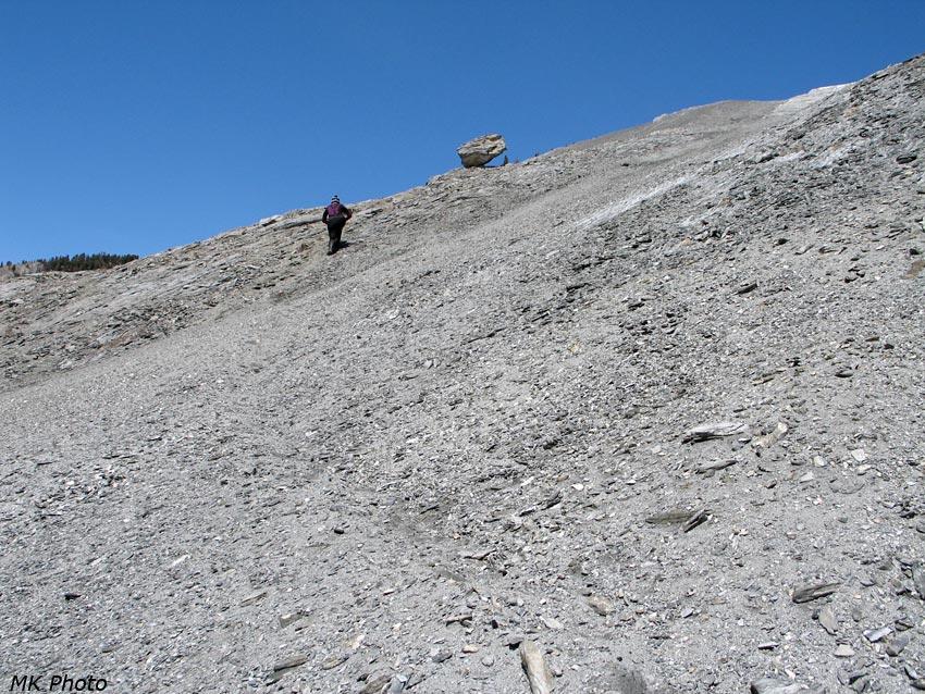 Катя направляется к камню