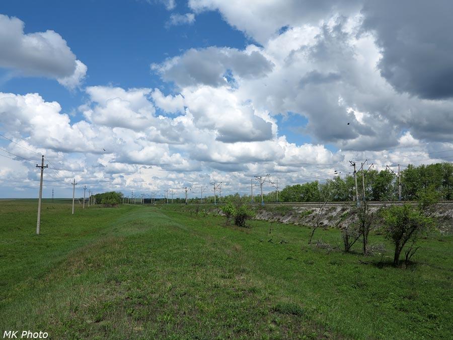 Насыпь бывшего первого пути отходит от 5077 км Транссиба