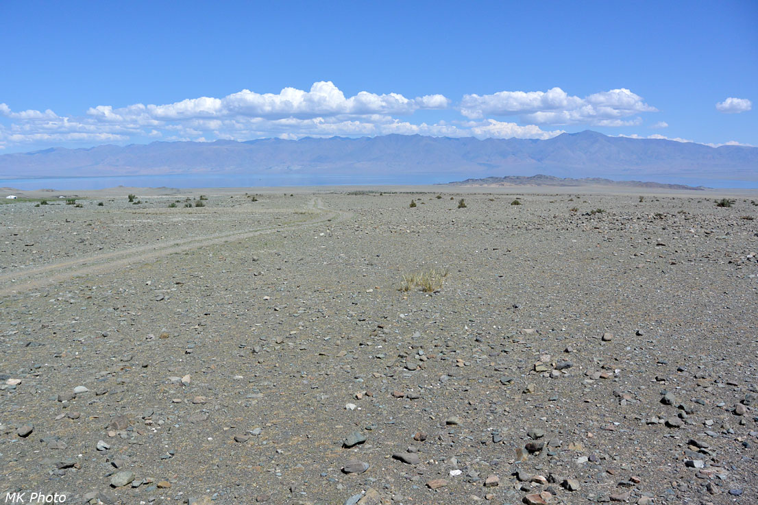 Каменная пустыня спускается к оз. Урэг-Нур
