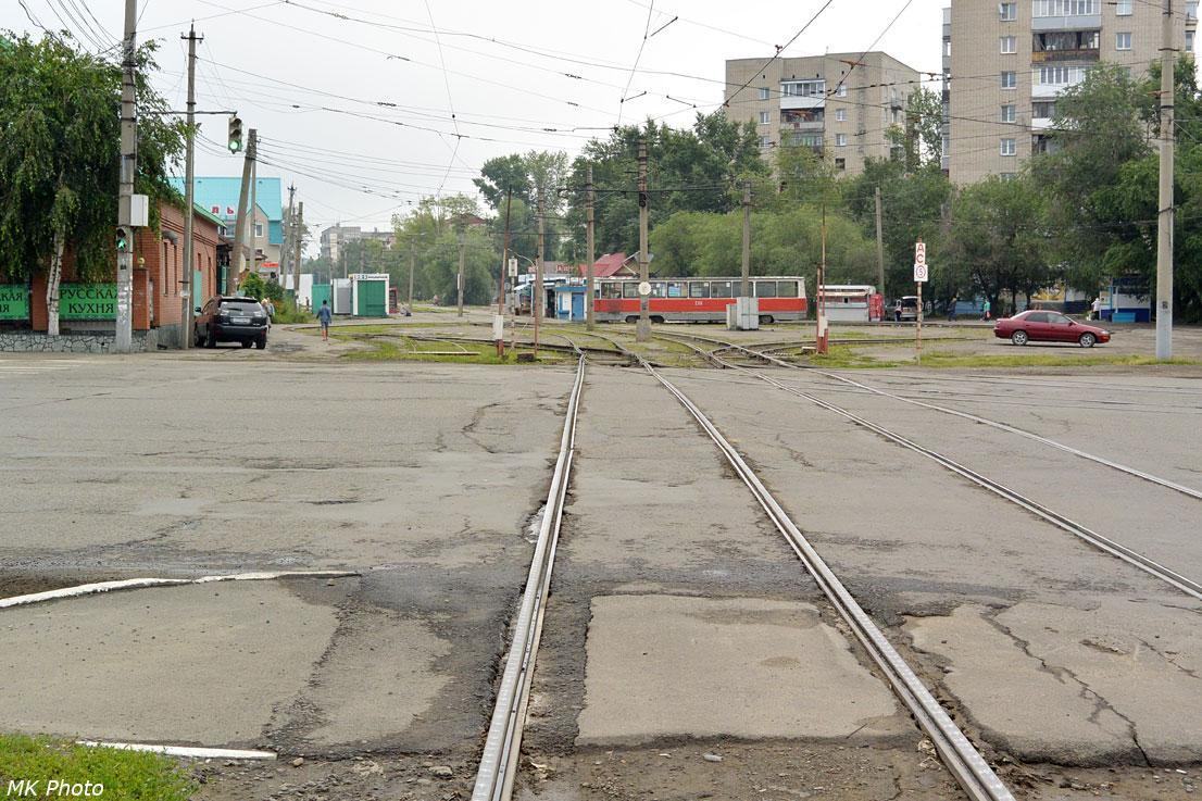 Трамвайная развязка на остановке Гилёва
