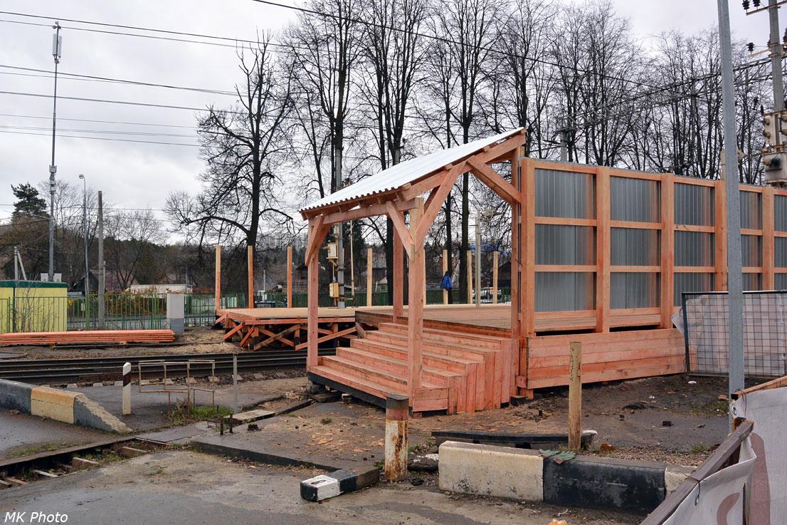 Строительство временной платформы Переделкино