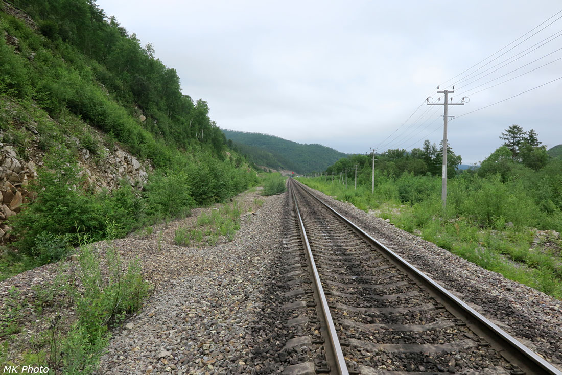 Вид назад в сторону разъезда Инау