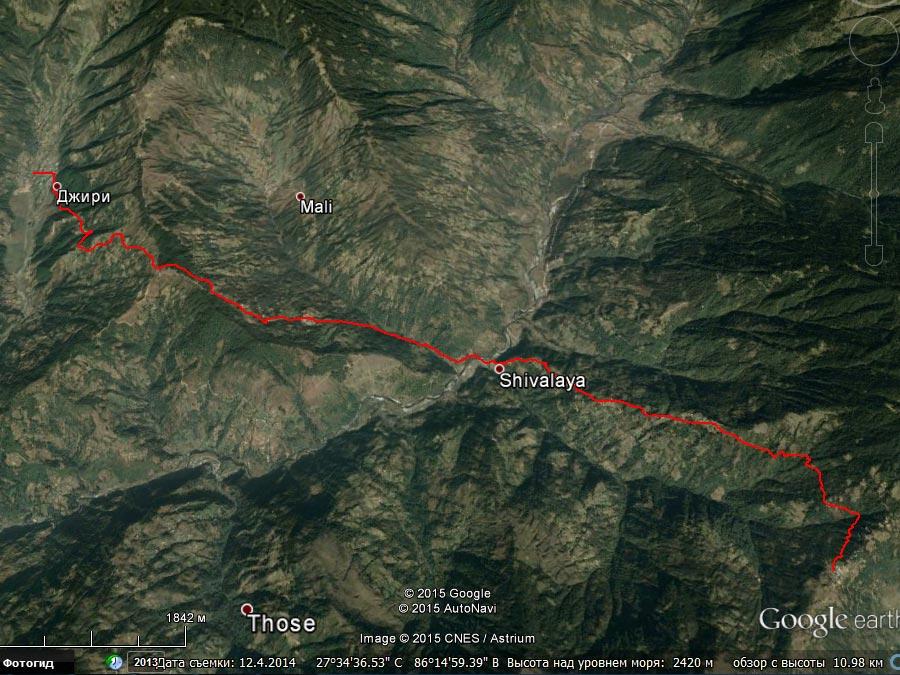 Спутниковый снимок маршрута 26 марта
