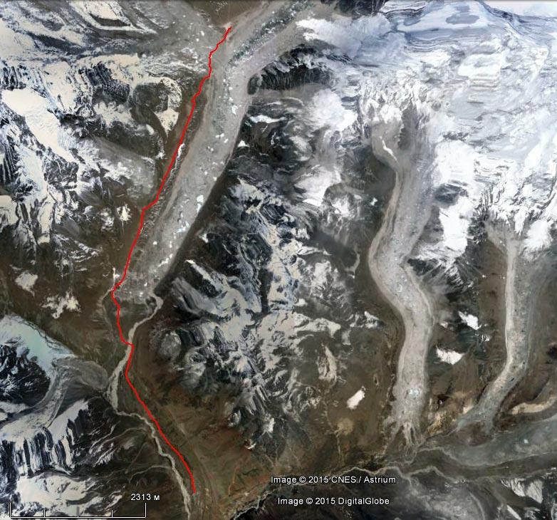 Спутниковый снимок маршрута 13 апреля