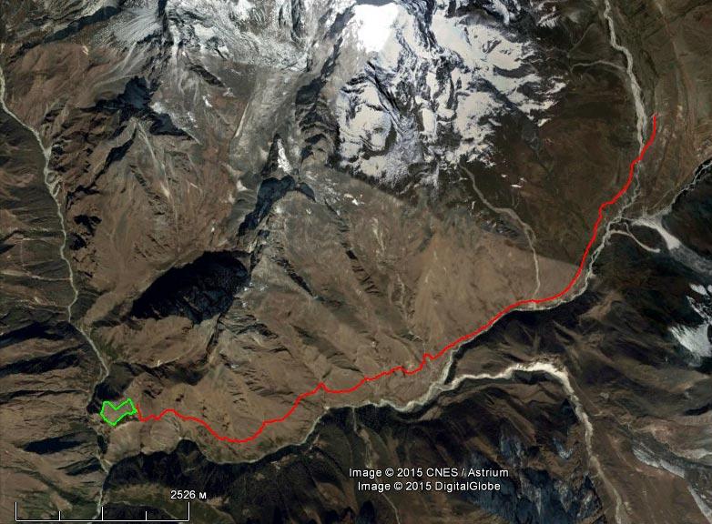 Спутниковый снимок маршрута 14 апреля