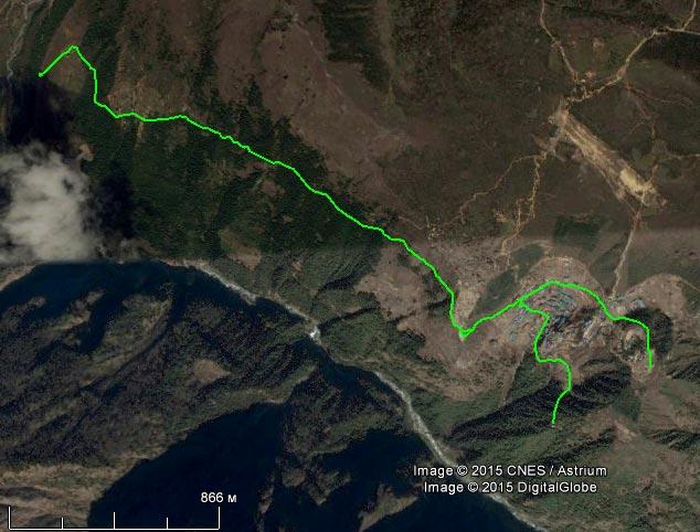 Спутниковый снимок маршрута 22 апреля