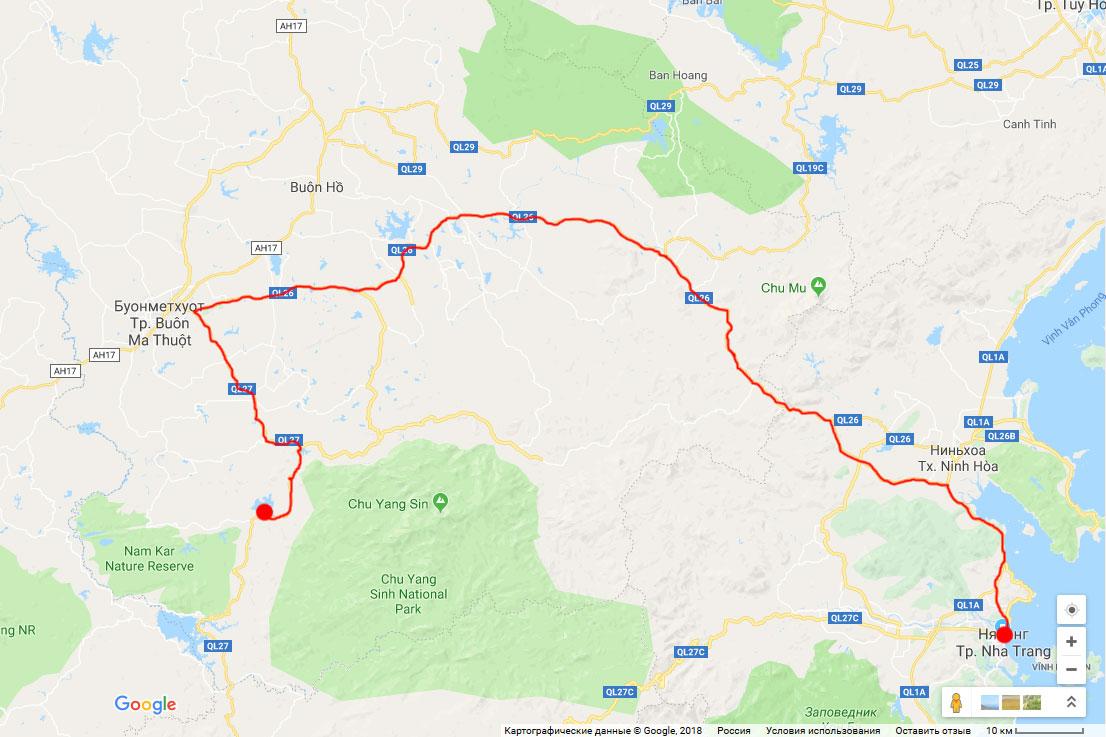 Карта нашей поездки в Даклак