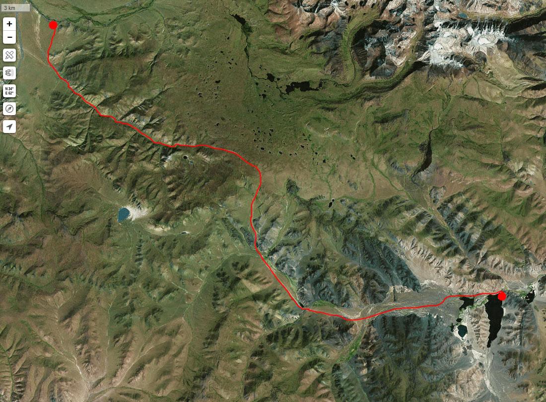 Спутниковый снимок нашего маршрута 30 июня