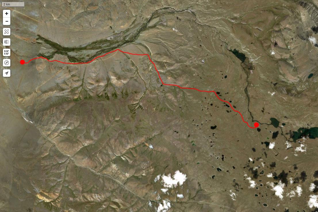 Спутниковый снимок нашего маршрута 1 июля