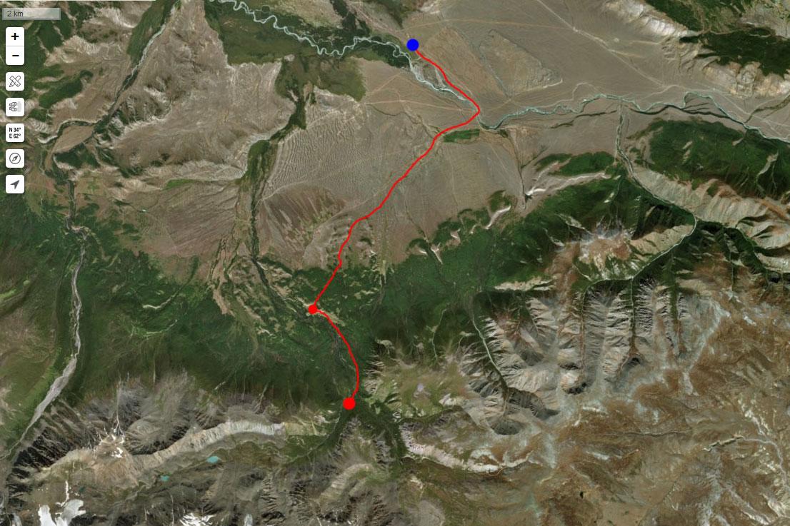 Спутниковый снимок маршрута 7 июля