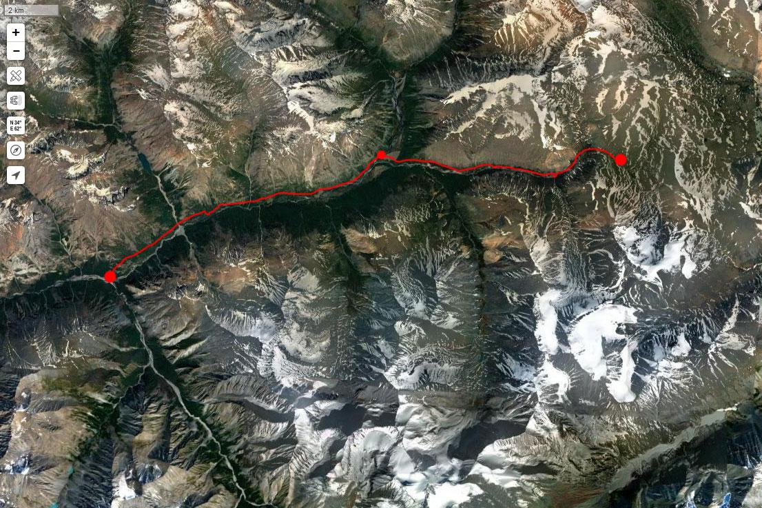 Спутниковый снимок маршрута 10 июля