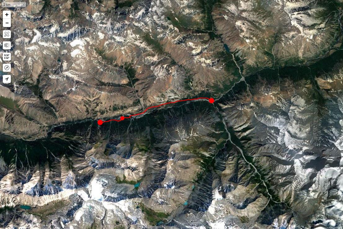 Спутниковый снимок маршрута 11 июля