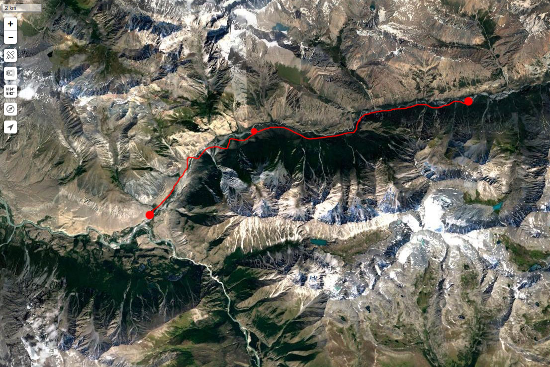 Спутниковый снимок маршрута 12 июля