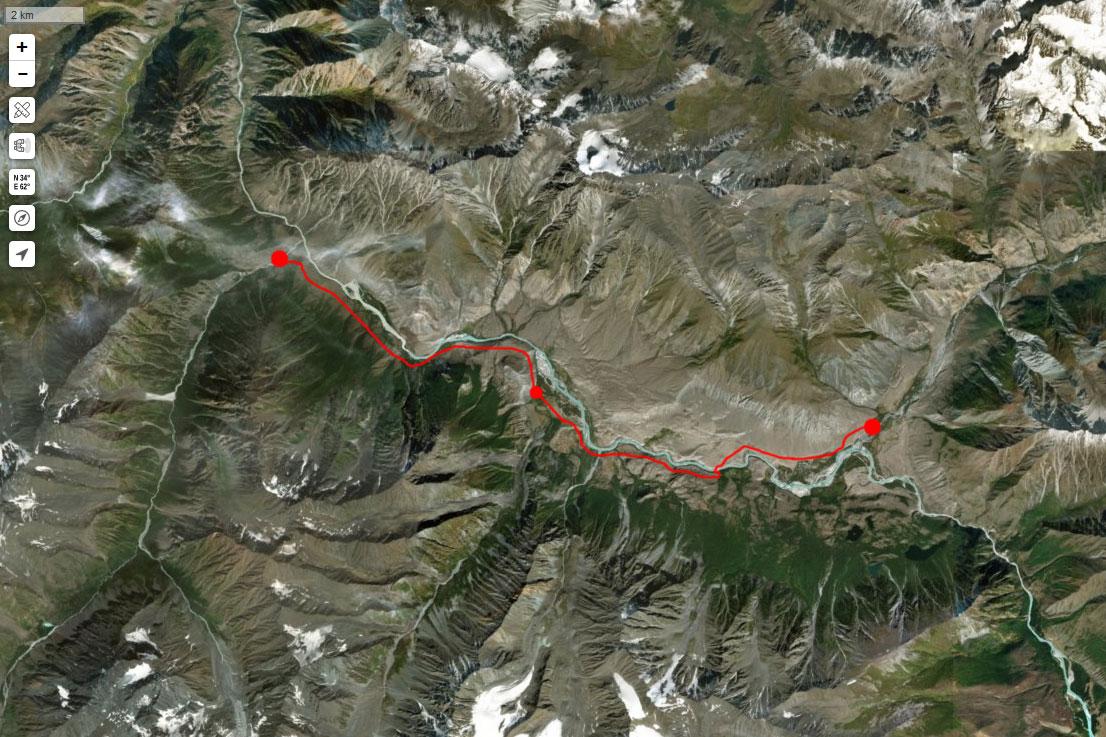 Спутниковый снимок маршрута 13 июля