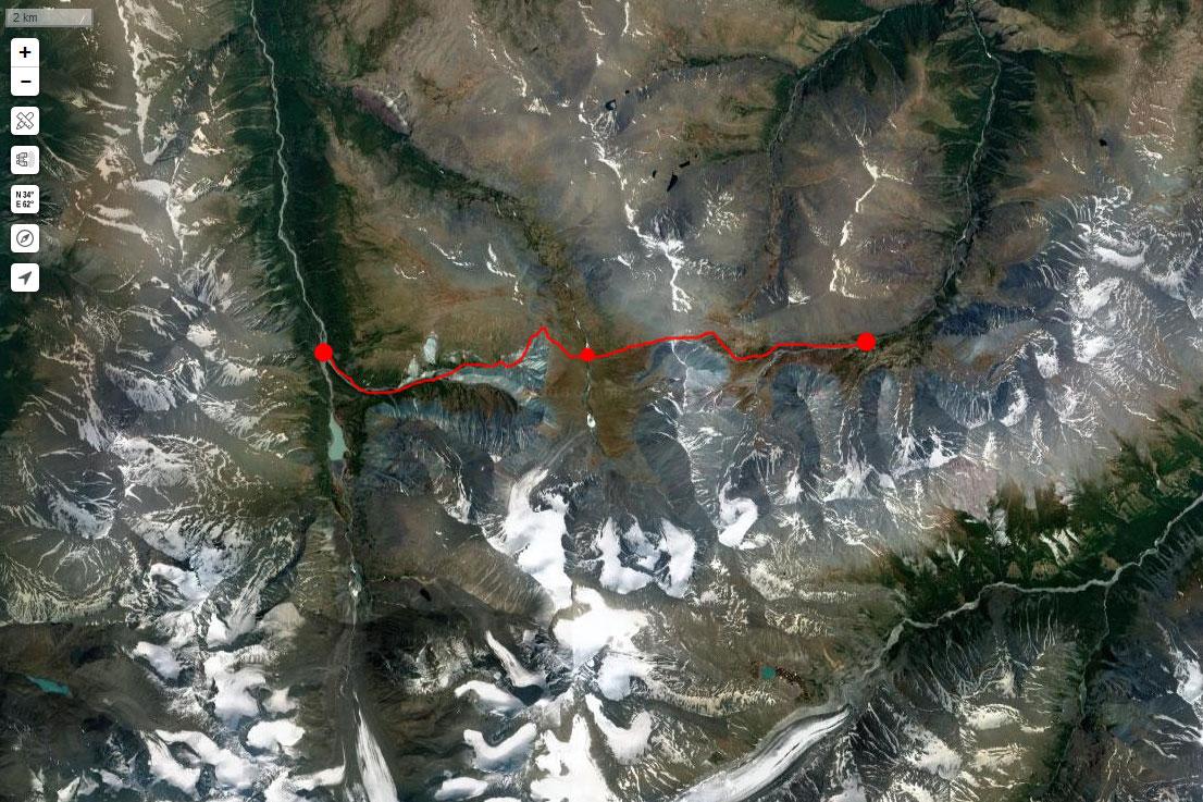 Спутниковый снимок маршрута 16 июля