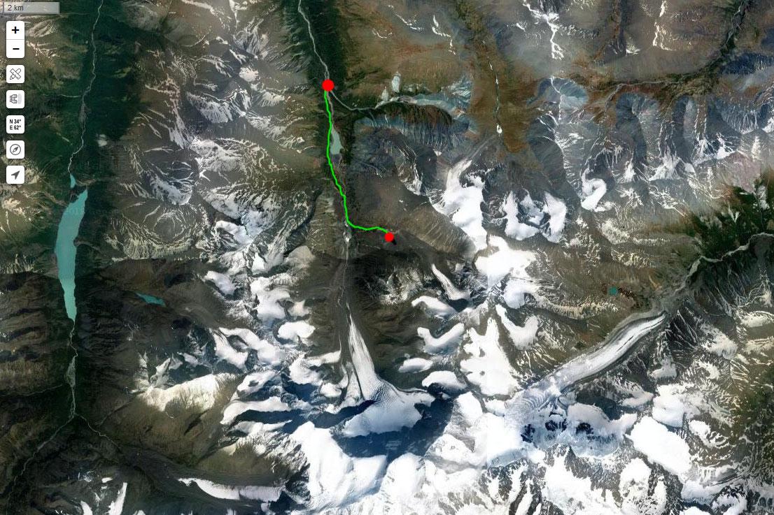 Спутниковый снимок маршрута 17 июля