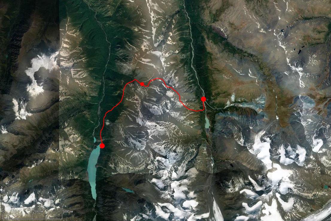 Спутниковый снимок маршрута 18 июля