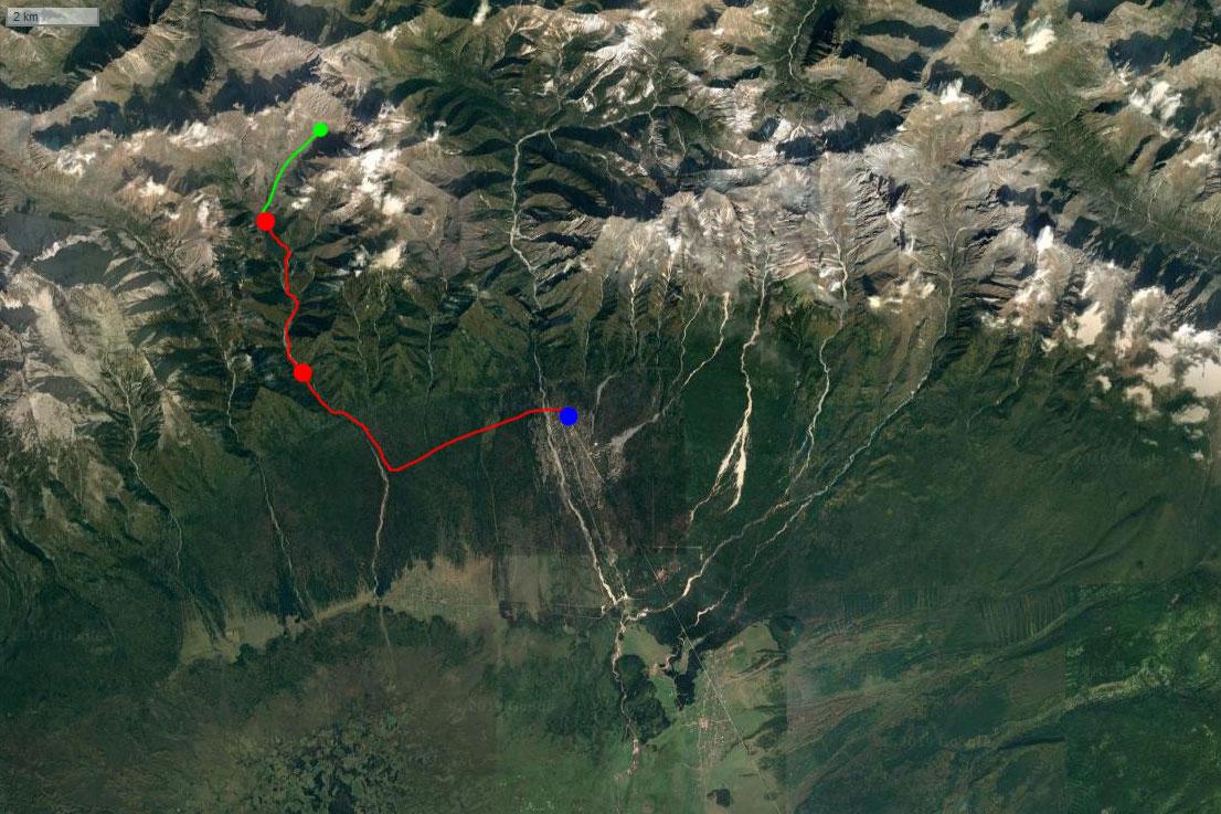 Спутниковый снимок похода на Бугатай