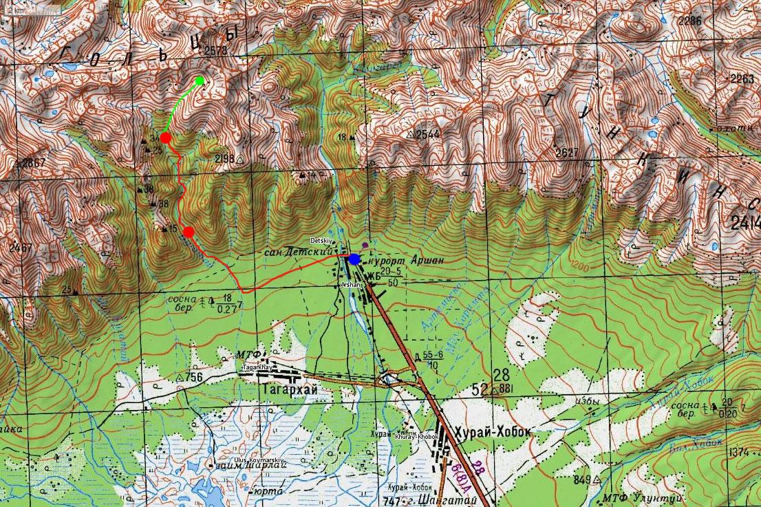 Карта маршрута похода на Бугатай
