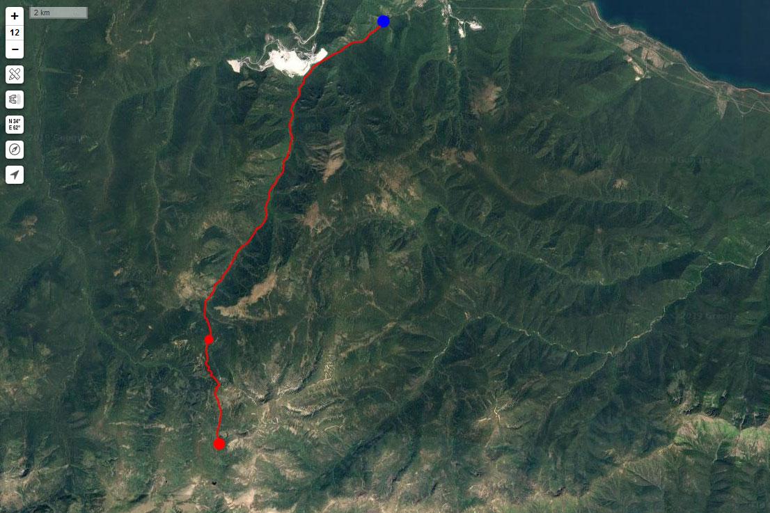 Спутниковый снимок маршрута 12 июня