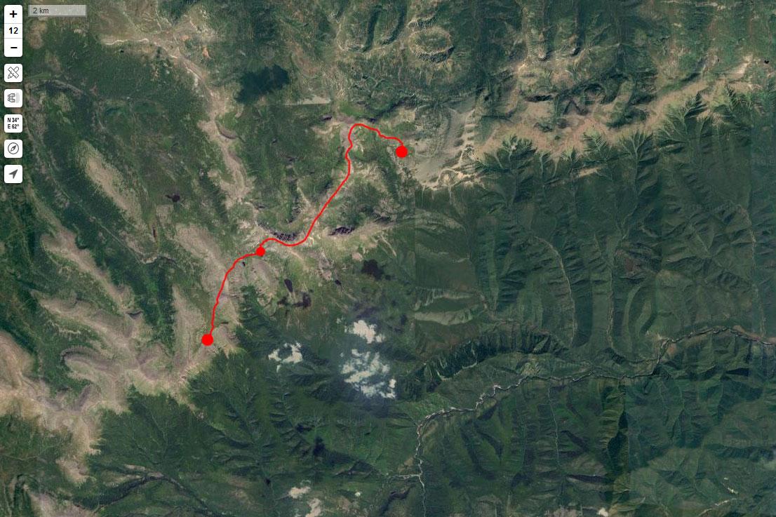 Спутниковый снимок маршрута 14 июня