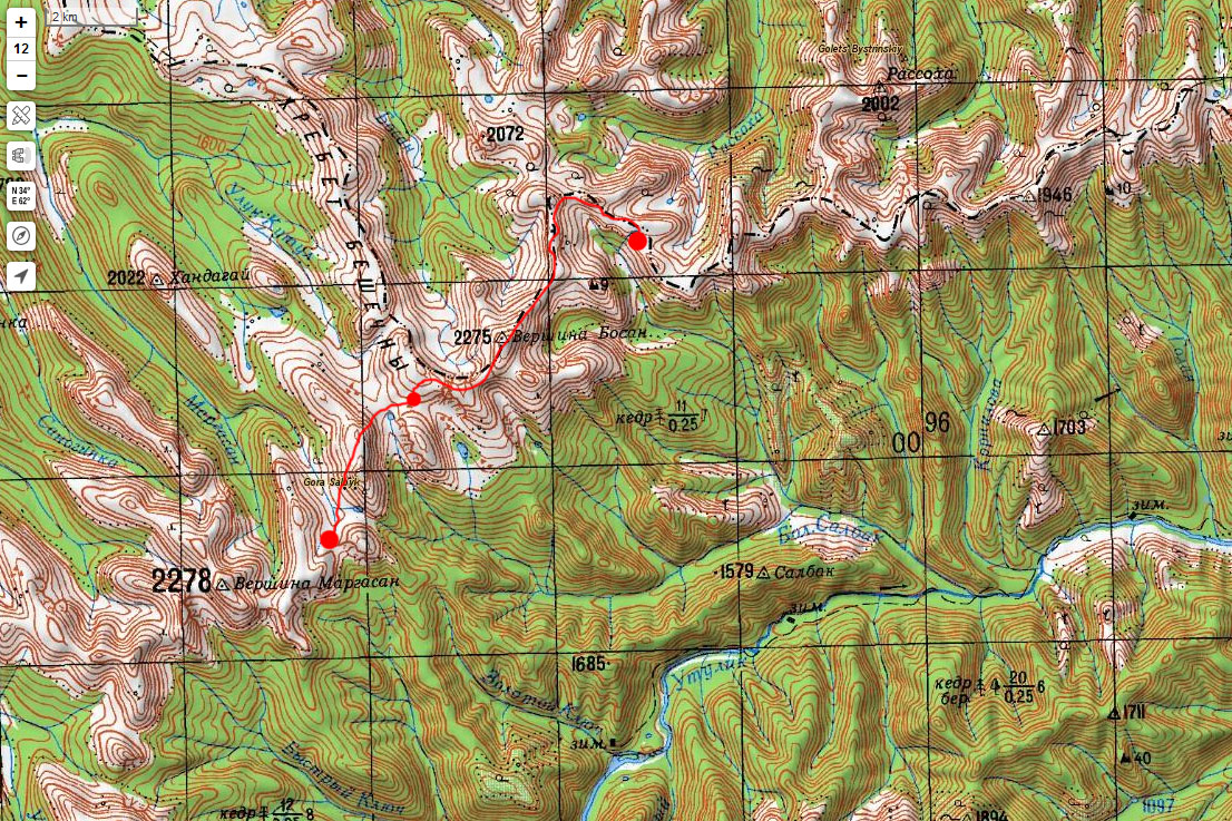 Карта маршрута 14 июня