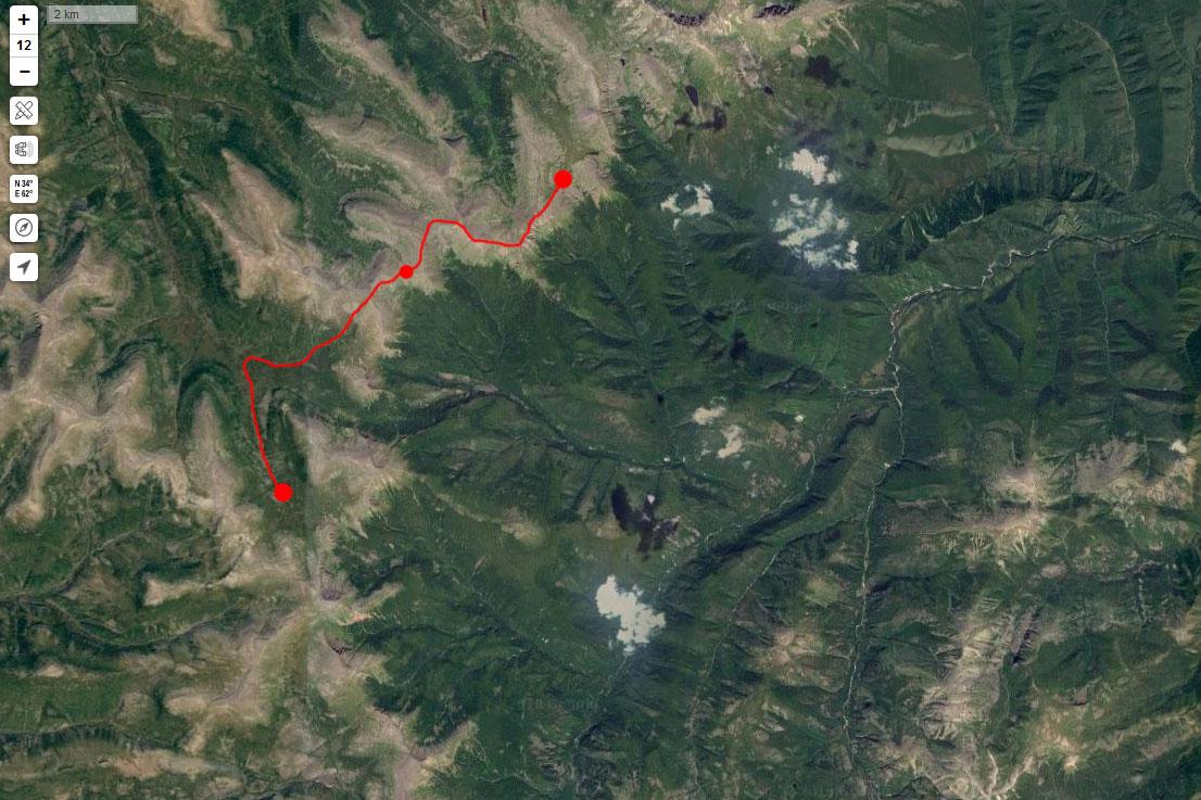 Спутниковый снимок маршрута 15 июня