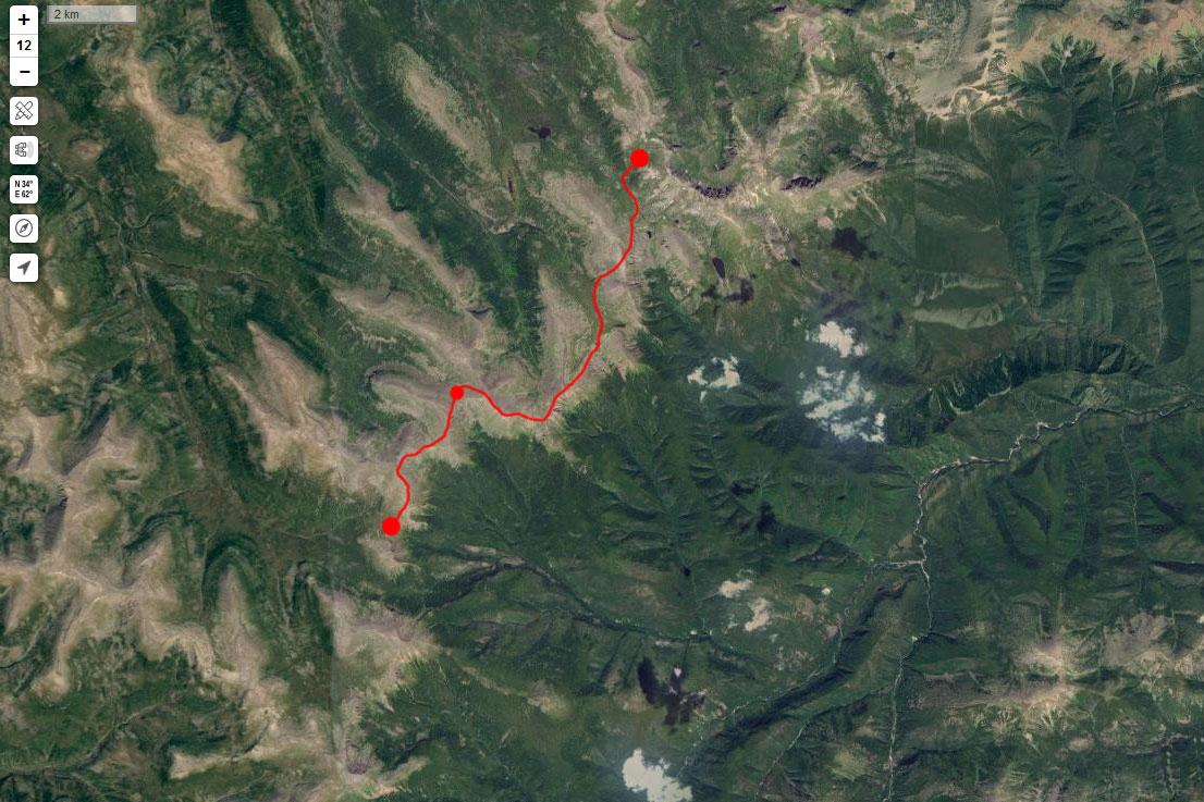 Спутниковый снимок маршрута 17 июня