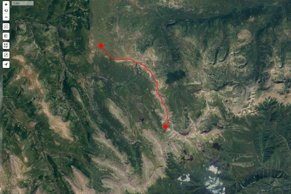 Спутниковый снимок маршрута 18 июня