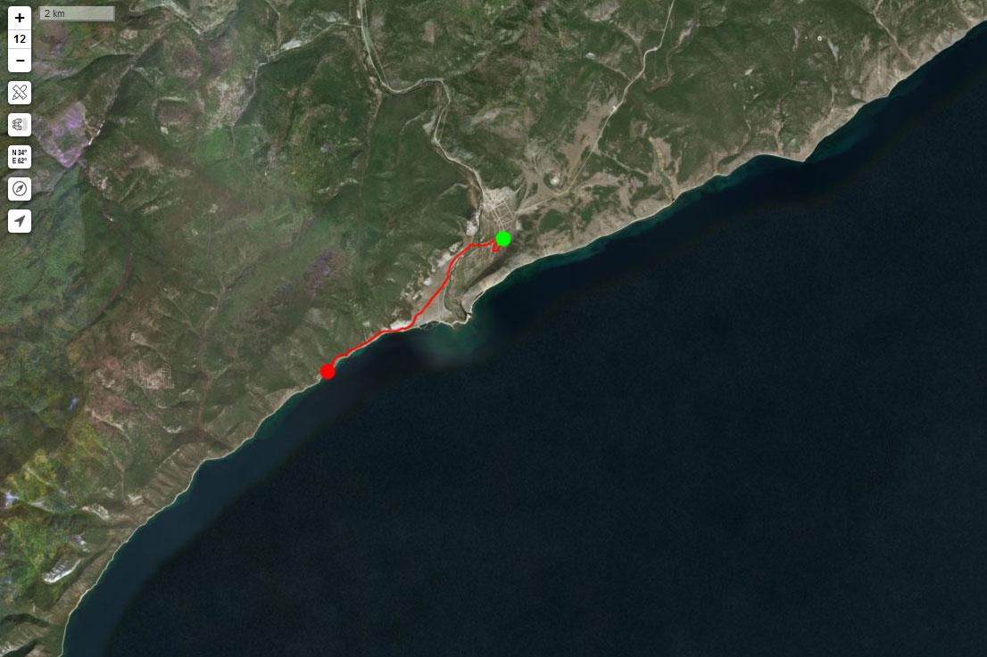 Спутниковый снимок маршрута 31 августа