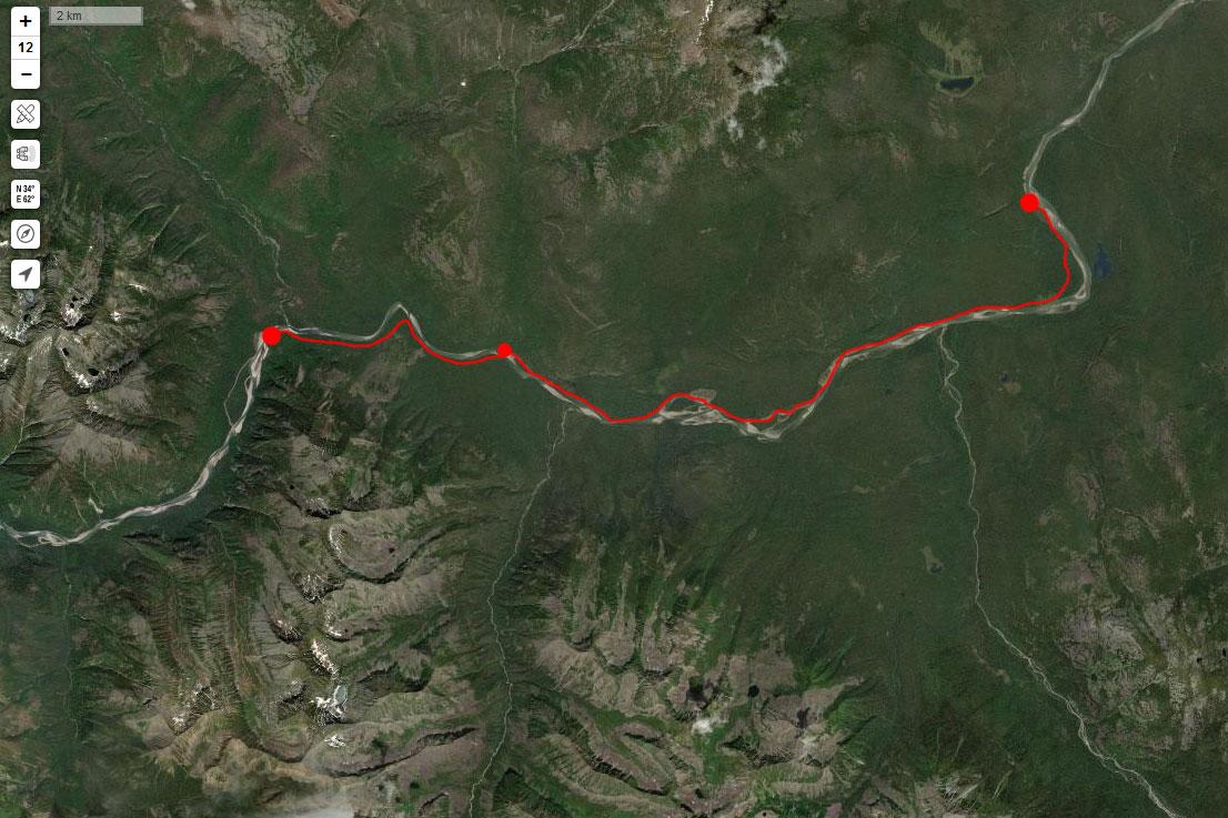 Спутниковый снимок маршрута 6 мая