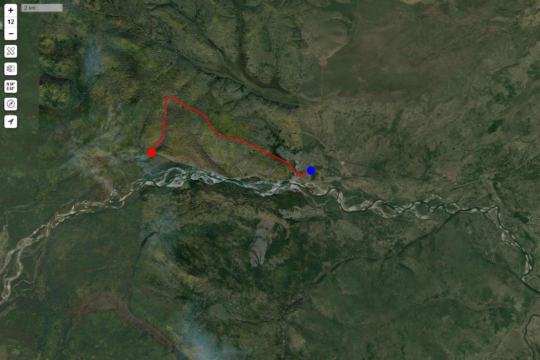 Спутниковый снимок маршрута 9 мая
