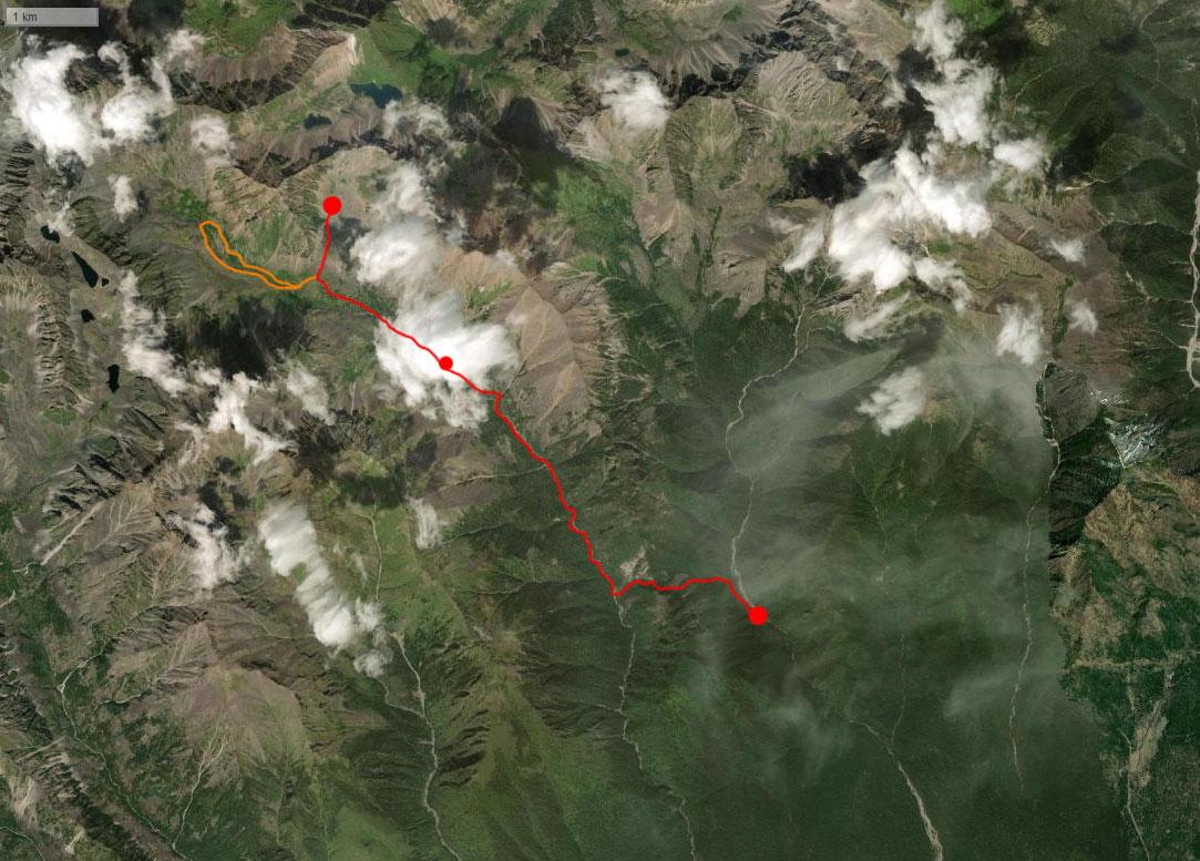 Спутниковый снимок маршрута 22 августа