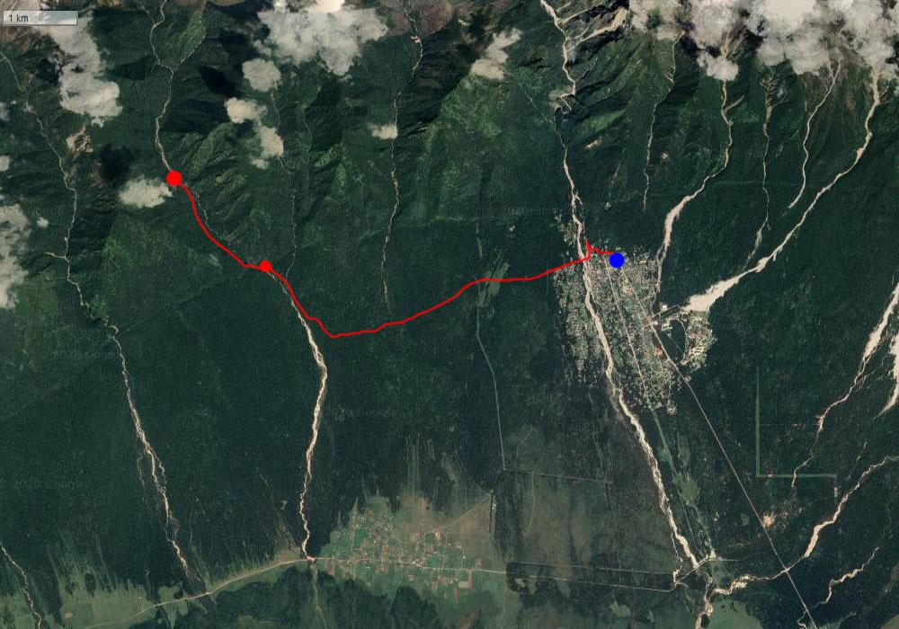 Спутниковый снимок маршрута 23 августа