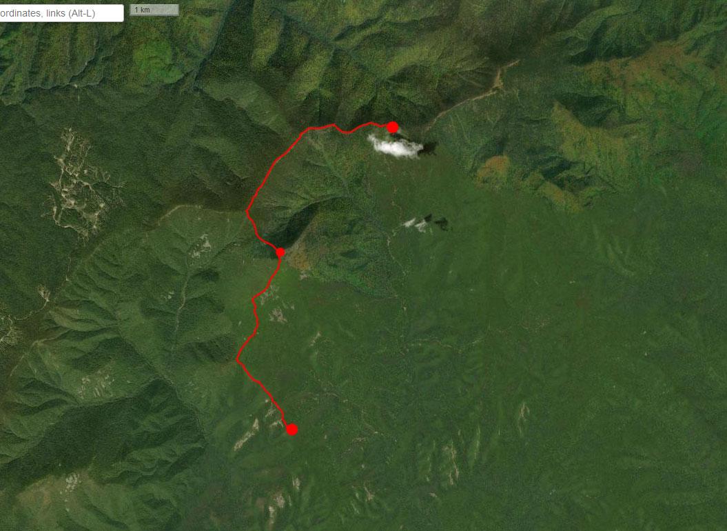 Спутниковый снимок маршрута 16 сентября