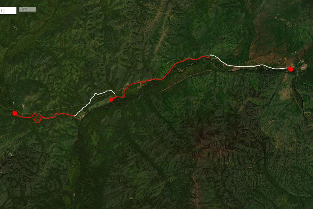 Спутниковый снимок маршрута 21 июня