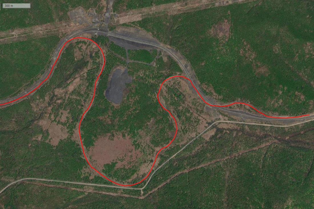 Спутниковый снимок спрямления ж/д