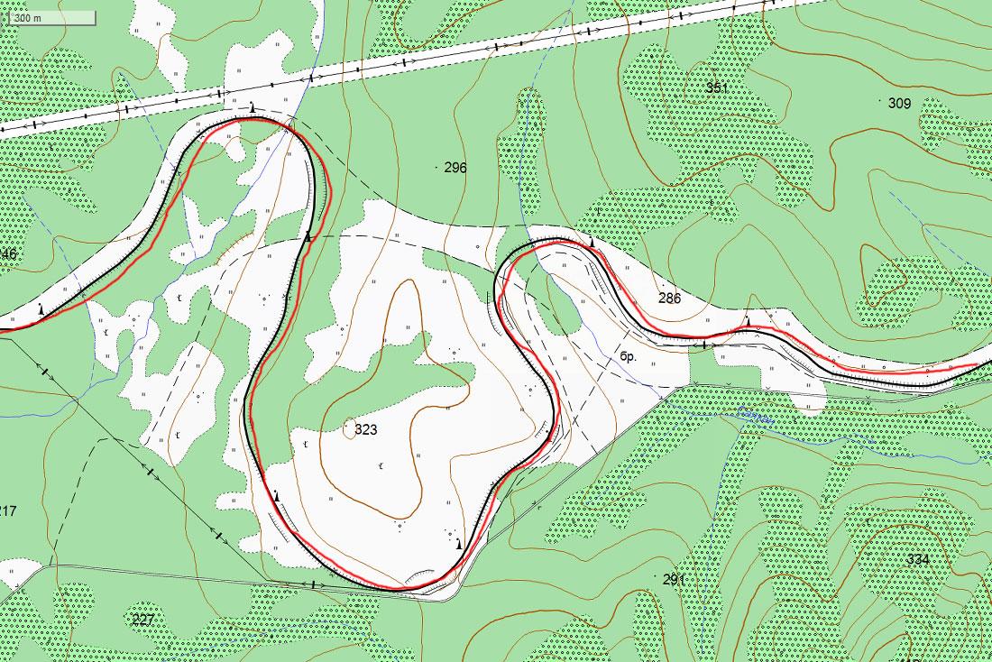 Карта спрямления ж/д