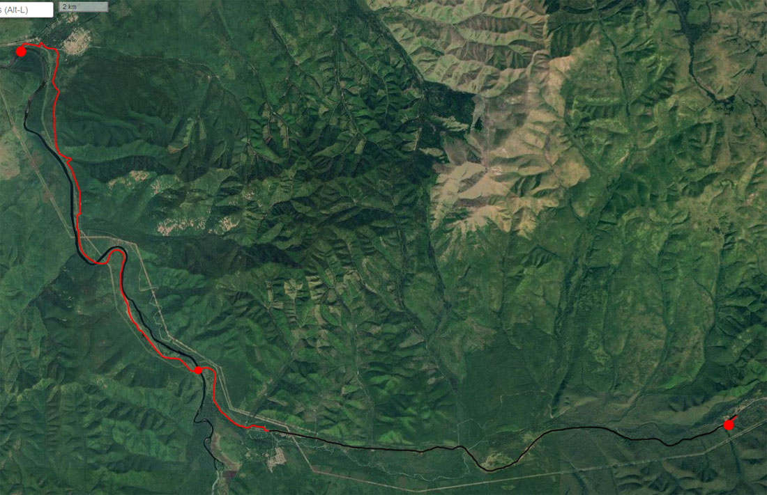 Спутниковый снимок маршрута 22 июня