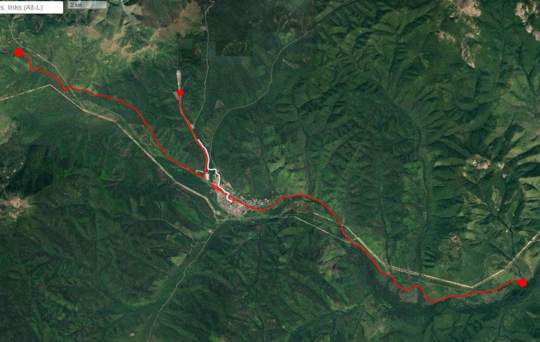 Спутниковый снимок маршрута 24 июня