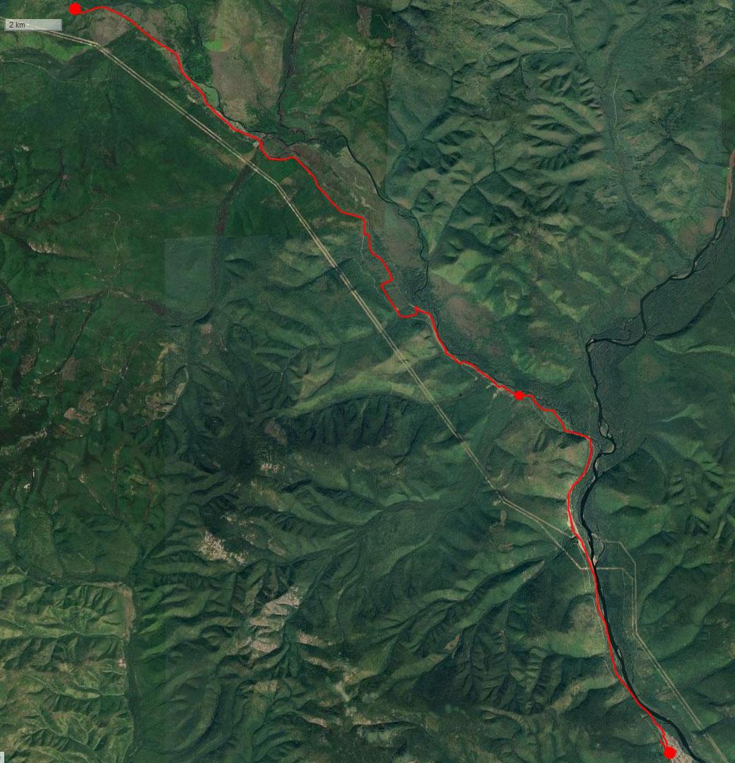 Спутниковый снимок маршрута 26 июня