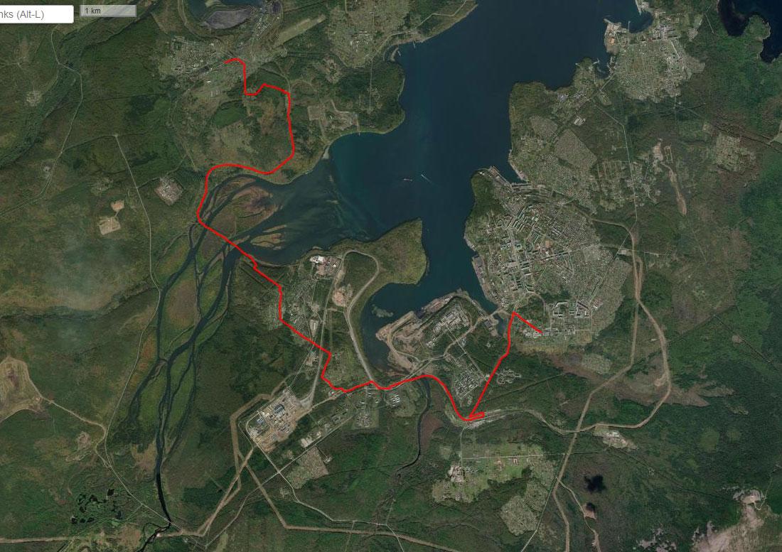 Спутниковый снимок маршрута 27 июня