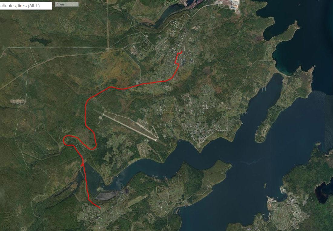 Спутниковый снимок маршрута 28 июня