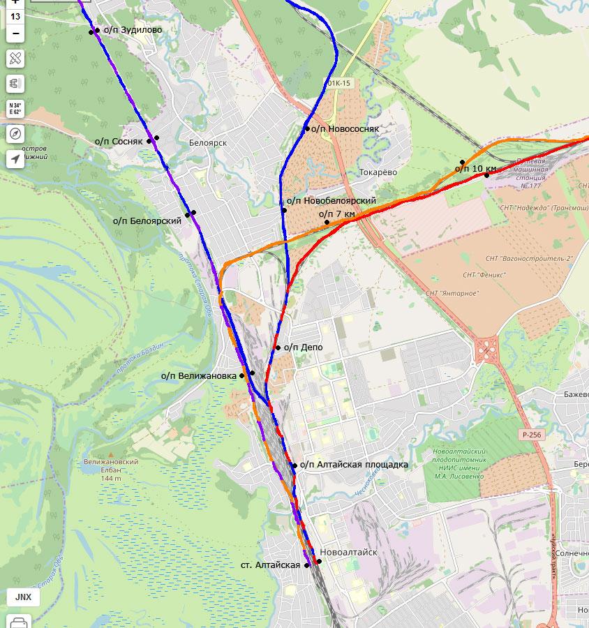 Схема ж/д путей в районе станции Алтайская