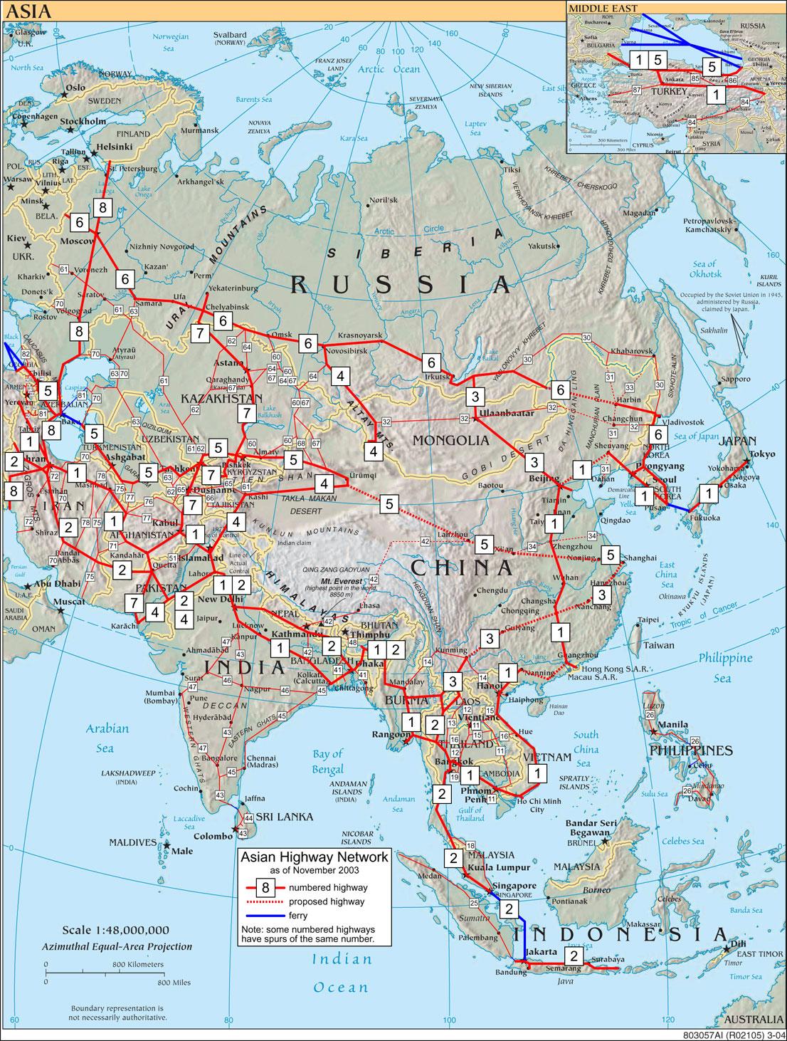 Схема азиатских дорог