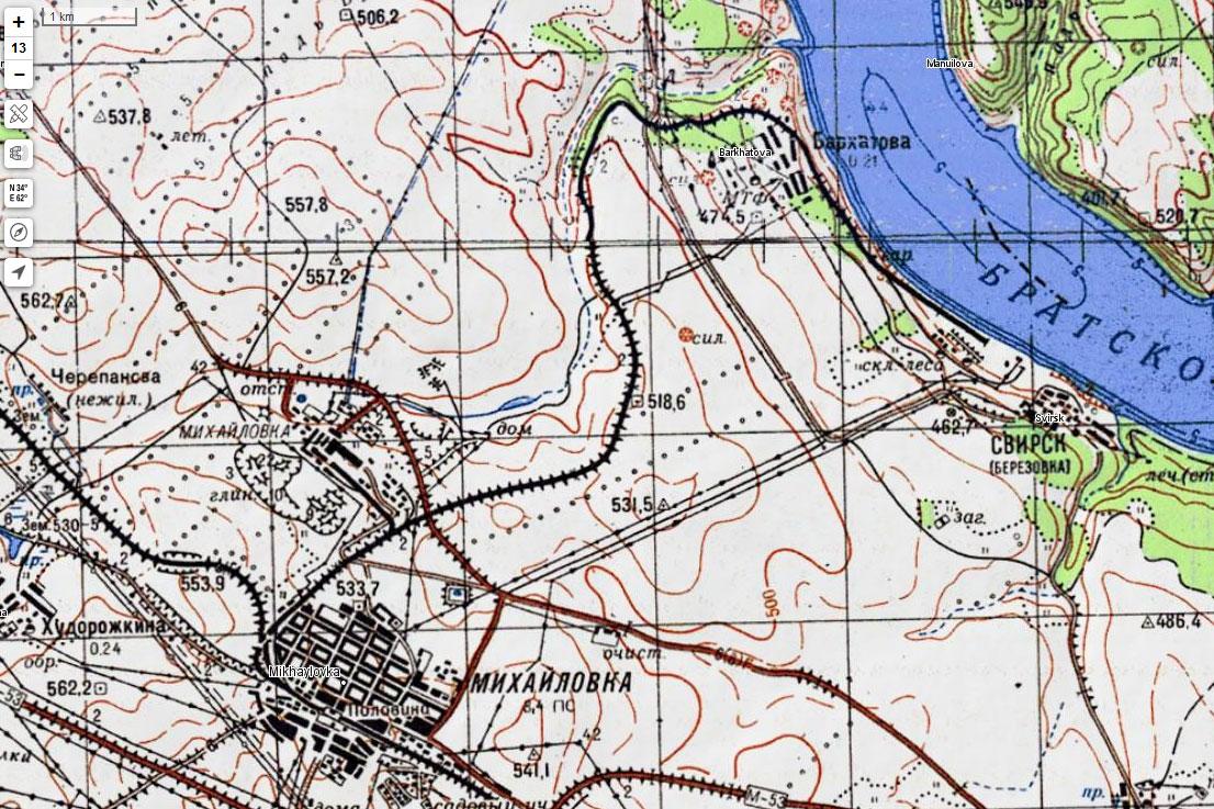 Карта половинской ветки