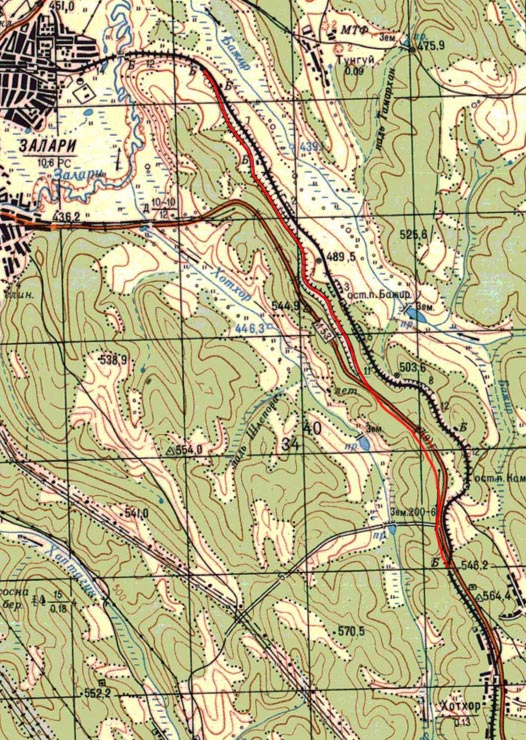 Карта старого пути на участке Залари - Хотхор