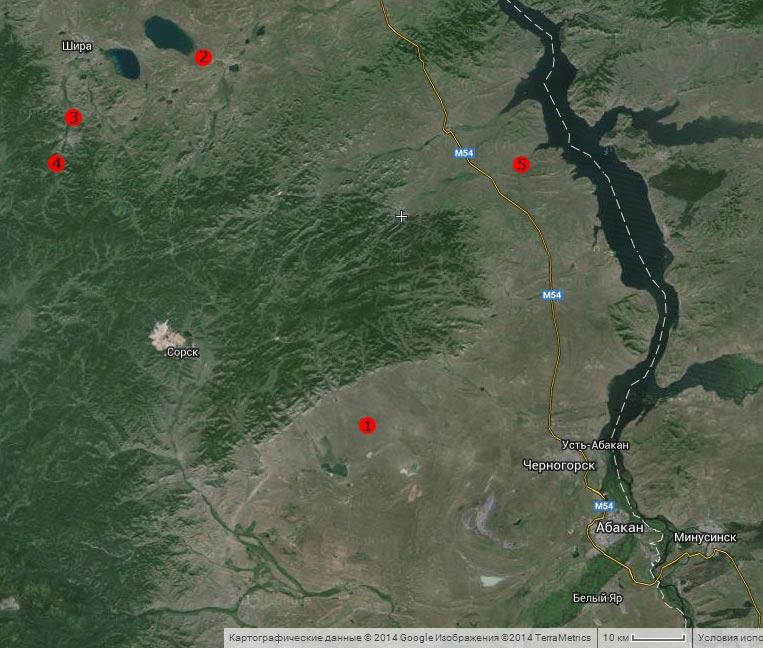 Спутниковый снимок посещённых мест